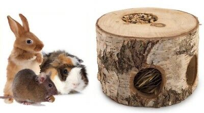 Natural Birch Bungalow Den House Gnaw Nibble Chew Birch Log Timothy Hay & Seeds