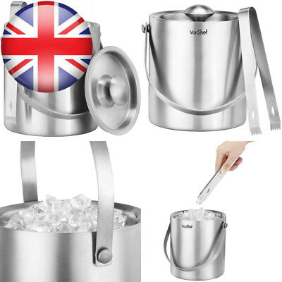 VonShef Copper Ice Bucket with Lid 2 Litre Double Walled Insulated Stainless...