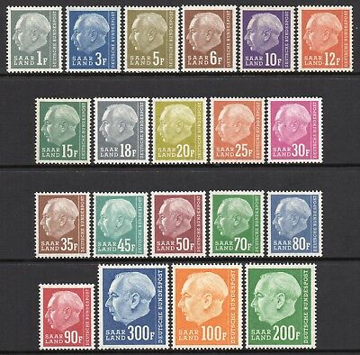 GERMANY SAAR 1957 President Heuss Issue Redrawn Fine MINT NH Set - MNH