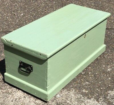 Good Victorian Painted Pine Chest/blanket Box/coffee Table