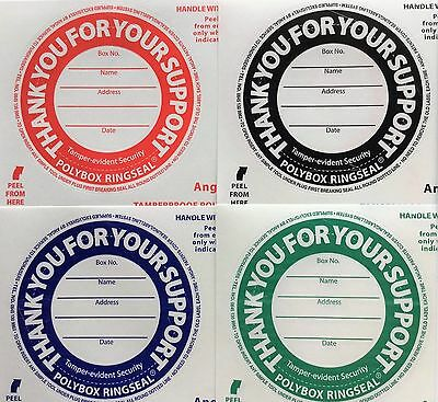 Tamper-proof security labels/ring seals for Polybox round Charity collection can