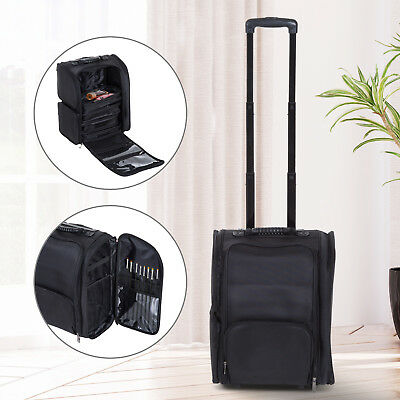 HOMCOM Makeup Organizer Bag Beauty Trolley Case Portable Spacious Durable Nylon