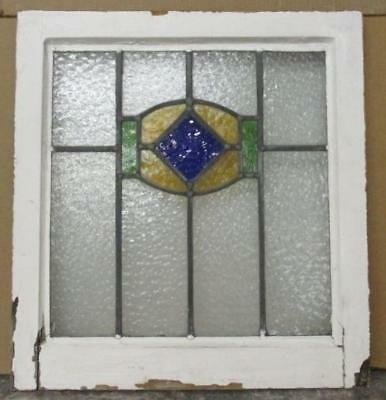 "OLD ENGLISH LEADED STAINED GLASS WINDOW Original Frame Geometric 19.75"" x 21"""