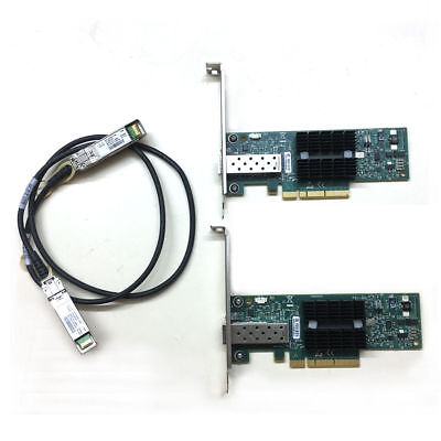 LOT OF 2 MNPA19-XTR Mellanox ConnectX-2 NIC 10GBe 1m SFP+ Cable NETWORK CARD