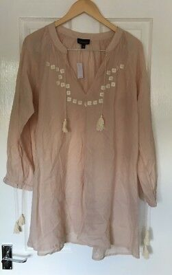 Topshop Blush Pink Embroidered Tassle Beach Cover Up Dress S Small Bnwt