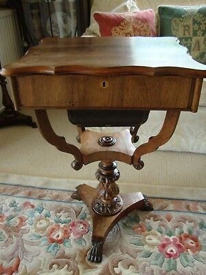 An Antique Early William Iv Specimen Sewing Side Table Lift Lid Sectioned Carved