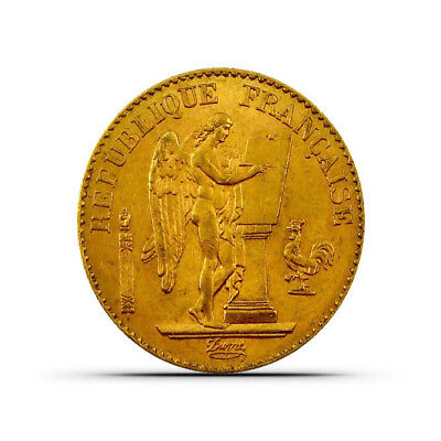 France 20 Francs Angel Gold Coin - 0.1867 oz - Random Date - Extremely Fine (XF)