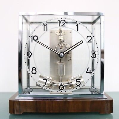 JUNGHANS aTo Mantel Clock CHROME Germany 1930s ELECTRIC Antique Translucent Dome