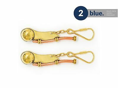 Solid Brass Nautical Whistle Keychain, Pair Five Oceans - BC2220-M2