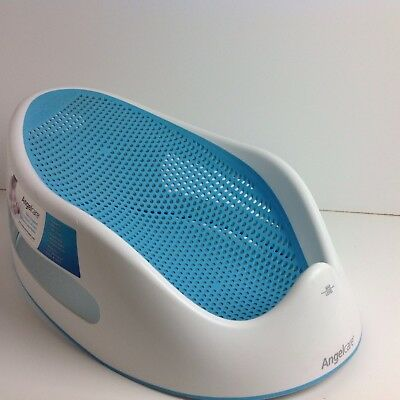 Angelcare Aqua Blue & White Soft Touch Baby Bath Support Seat Comfy Safe