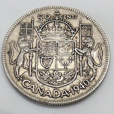 1940 Canada 50 Fifty Cents Silver Half Dollar Canadian Circulated Coin F453