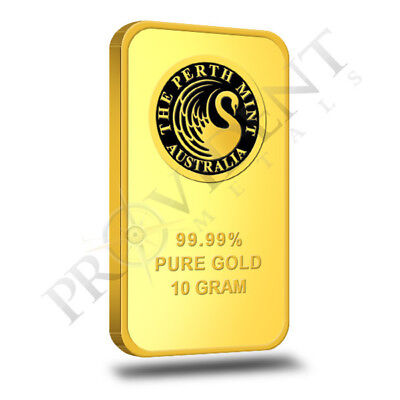 10 Gram Perth Mint .9999 Fine Gold Bar - Sealed in Assay Card