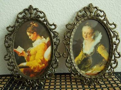 Vintage Ornate * VICTORIAN BRASS * Metal Frame TWO PORTRAITS * Made In Italy *