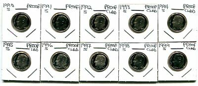 10-Coin sets of Gem PROOF CAMEO 1990's CLAD DIMES 1990-1999-S -Free Shipping