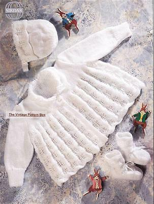 BABY MATINEE COAT,BONNET & BOOTEES / 3ply - birth to 9 - COPY knitting pattern