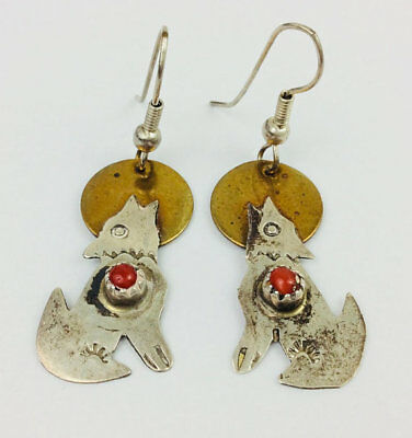 """Vintage Pair of Native American Wolf Gold Tone & Silver Sterling? Earrings 1"""""""