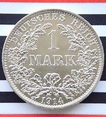 GERMAN EMPIRE 1 MARK 1914 A 90% Silver Reich WW1 NICE Old Coin History UNC +RARE