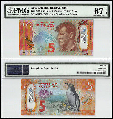 New Zealand 5 Dollars, 2015, P-191a, Edmund Hillary, Penguin, Polymer, PMG 67