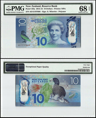 New Zealand 10 Dollars, 2015, P-192a, Kate Sheppard, Duck, Polymer, PMG 68