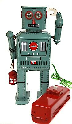 Lantern Robot Tin Toy Remote Control Battery Operated Smokes  Hard To Get