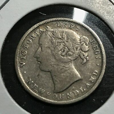 1876 Newfoundland  Sterling Silver 20 Cents Queen Victoria