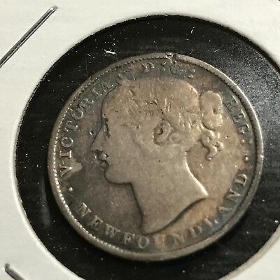 1881 Newfoundland  Sterling Silver 20 Cents Queen Victoria