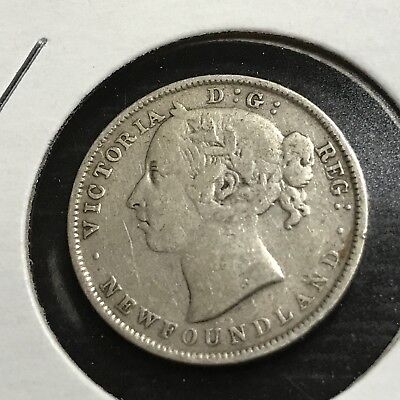 1896 Newfoundland  Sterling Silver 20 Cents Queen Victoria
