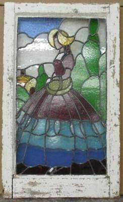 "LARGE OLD ENGLISH LEADED STAINED GLASS WINDOW Woman In Dress 19.5"" x 32.5"""