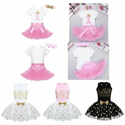 Baby Girl 1st Birthday Party Outfit Bodysuit Dress Kids Tutu Romper Headband Set
