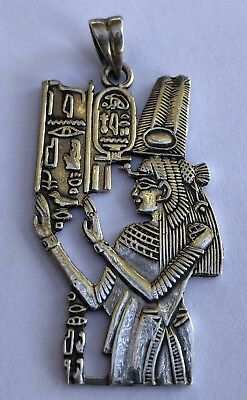 HUGE Egyptian Nefertiti Cartouche Hieroglyphics Sterling Silver Pendant Necklace