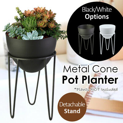 22x12CM Metal Cone Pot Planter With Detachable Stand Flower Holder Home Garden