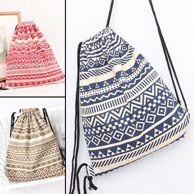 Sport Backpack Drawstring School Shopping Swimming Beach Totes Canvas Bag Gym