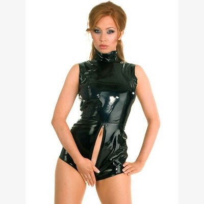 Sexy Latex PVC Bodysuit Catsuit Faux Leather Wet Look Bodycon Jumpsuit Costumes
