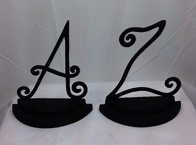 Unique Heavy Cast Iron Bookends One Fancy A and One Fancy Z Black