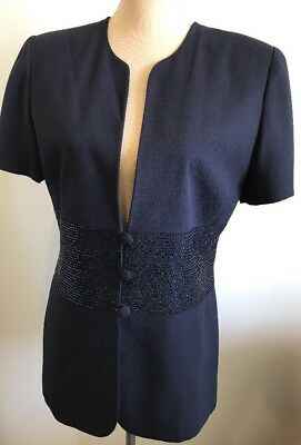 Discovery Suit Beaded Jacket Navy Blue Fitted Size 12 Blazer Special Occasion