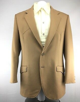 CIRCLE S 70s Dallas TX Ranch Western Mens 2 Piece Suit Polyester Size 42R x 36
