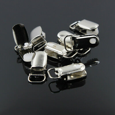 20 Pcs Metal Round Pacifier Holder Suspender Clips Holders w/ Insert LEAD FREE
