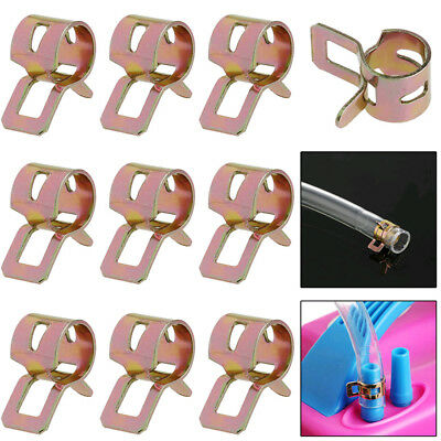 10Pcs 8mm Spring Clip Fuel Line Hose Water Pipe Air Tube Clamps Fastener Lot