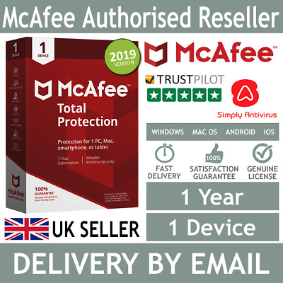 McAfee Total Protection 2018 Antivirus 1 Device 1 Year  *5 Min Delivery by Email