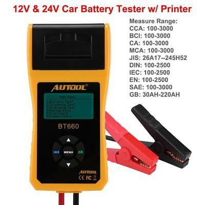 12V 24V Car 100-3000CCA Battery Load Tester Analyzer Tool w/ Printer  BST660 New