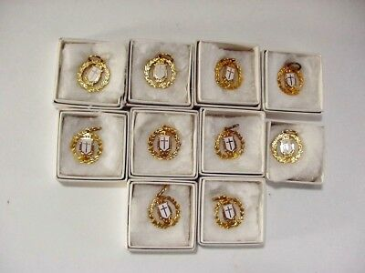Vintage Brass & Enamel Religious Cross Charm with Box -- Group of Ten(10)