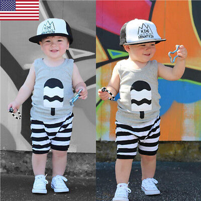 US Toddler Kids Baby Boy T-shirt Tops+Pants Summer Casual Outfits Clothing Set