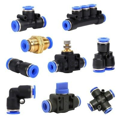 6/8/10/12mm Pneumatic Push In Fitting Air Valve Water Hose Pipe Connector Joiner