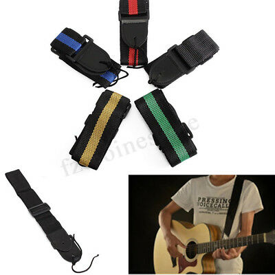 Universal Adjustable Nylon Guitar Strap Classic Electric Acoustic Bass 5 Colours