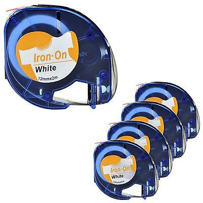 5PK LT18771 Compatible DYMO LetraTag Fabric Iron-on Black on White Label Tape