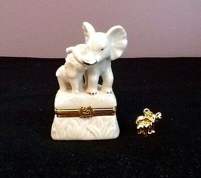 Lenox Tender Hearts Mother And Baby Elephant Trinket Box With Charm