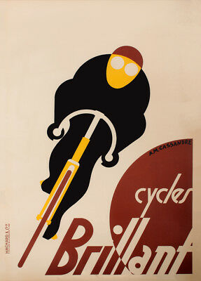 CYCLES BRILLANT, France, 1925 by A.M Cassandre, 250gsm Art Deco Cycling Poster