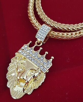 Mens 18k real gold filled lion head pendant necklace chain jewellry best mens 18k real gold filled lion head pendant necklace chain jewellry 75cm aloadofball Image collections