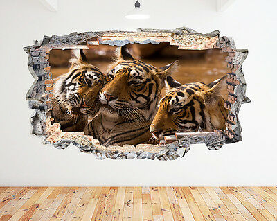 TIGER CUBS WALL STICKER WINDOW FULL COLOUR BEDROOM LOUNGE ZOO ANIMAL W130