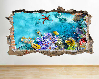 W202 Aquarium Fish Tank Coral Wall Decal Poster 3D Art Stickers Vinyl Room